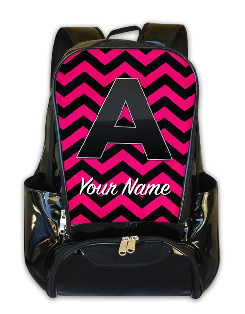Fuschia-Black Chevron - Personalized Backpack