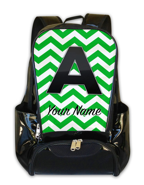 Green Chevron - Personalized Backpack