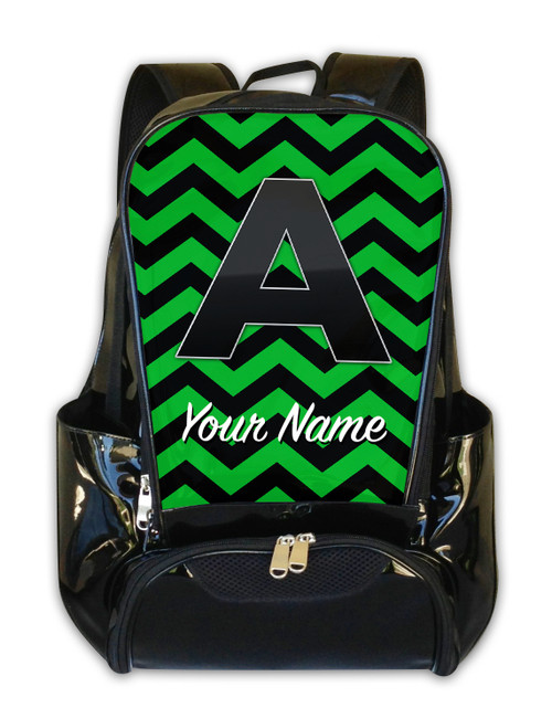 Green-Black Chevron - Personalized Backpack