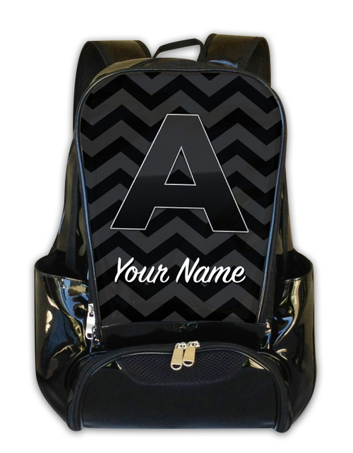 Grey-Black Chevron - Personalized Backpack
