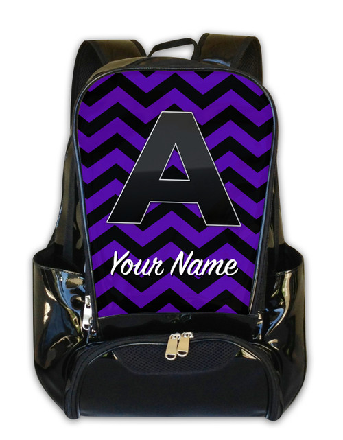 Purple Black Chevron - Personalized Backpack