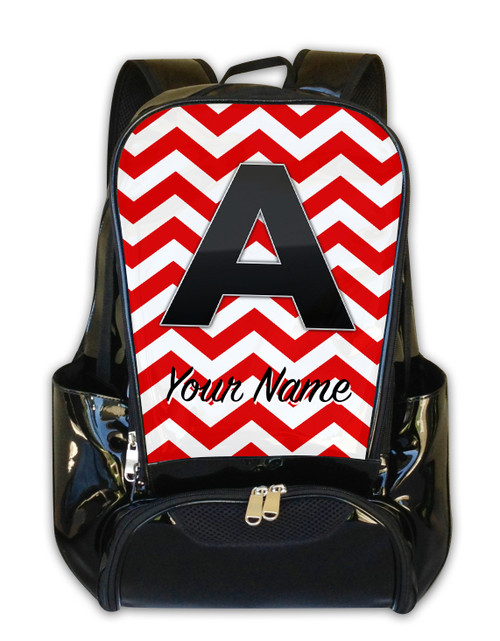 Red Chevron - Personalized Backpack