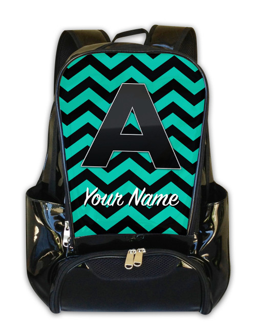 Teal-Black Chevron - Personalized Backpack