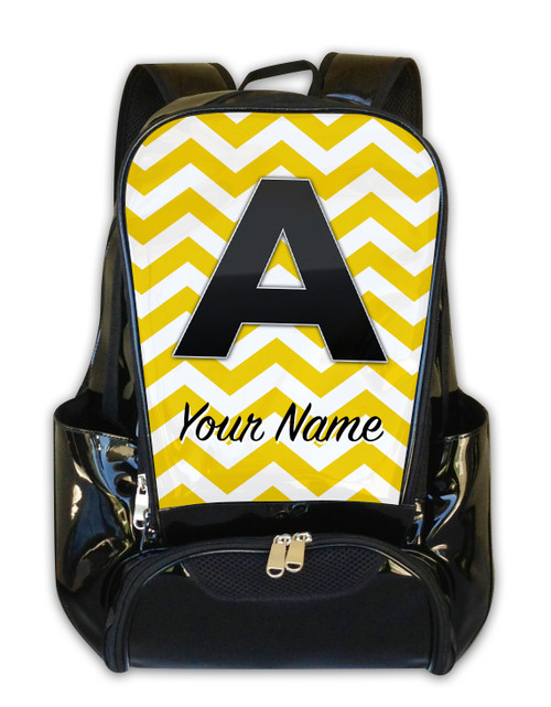 Yellow Chevron - Personalized Backpack