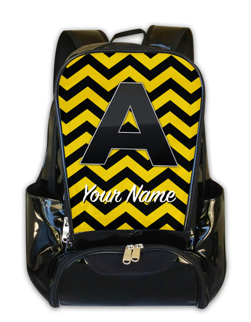 Yellow-Black Chevron - Personalized Backpack