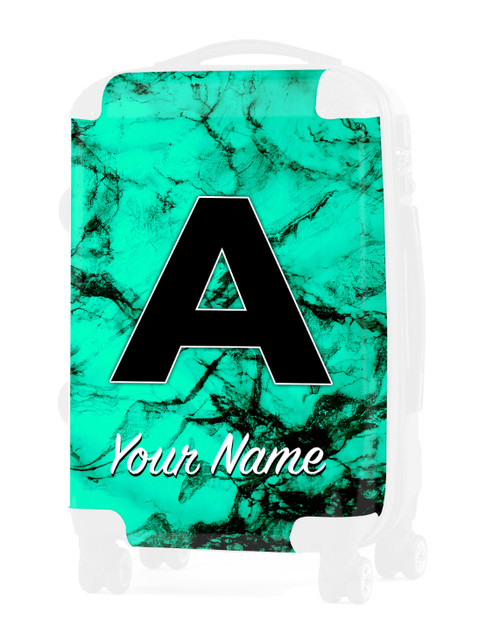 "Teal Marble - Graphic Insert for 24"" Check-in Luggage"