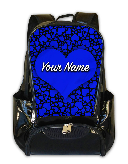 Blue-Black Hearts Personalized Backpack