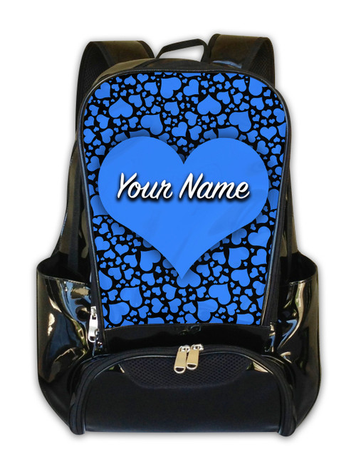 Baby Blue-Black Hearts Personalized Backpack