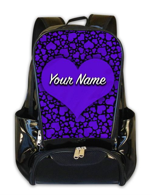 Purple-Black Hearts Personalized Backpack