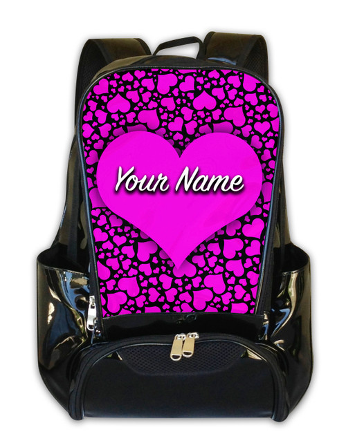 Pink-Black Hearts Personalized Backpack