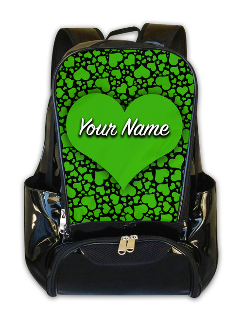 Green-Black Hearts Personalized Backpack