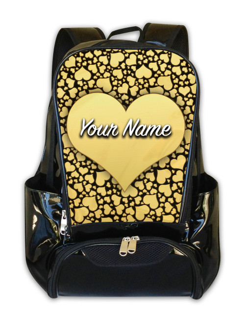 Gold Hearts Personalized Backpack