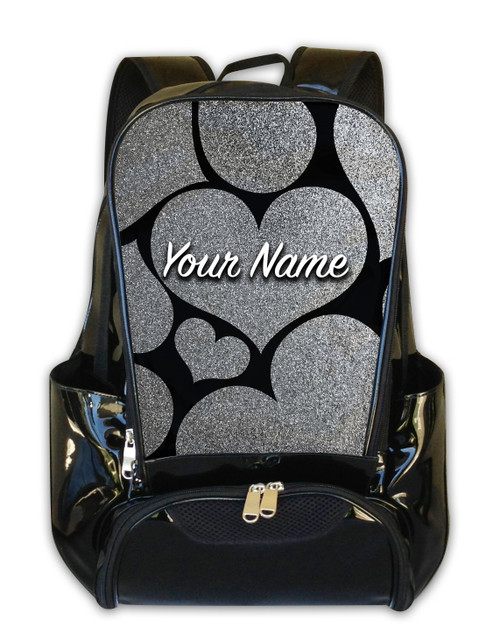Silver Glitter Hearts Personalized Backpack
