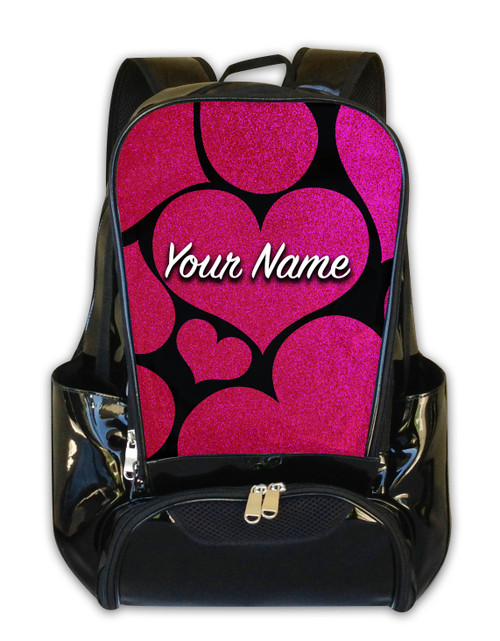 Pink Glitter Hearts Personalized Backpack