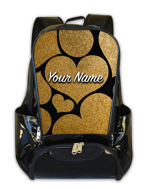 Gold Glitter Hearts Personalized Backpack