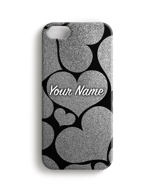 Silver Glitter Hearts Phone Case