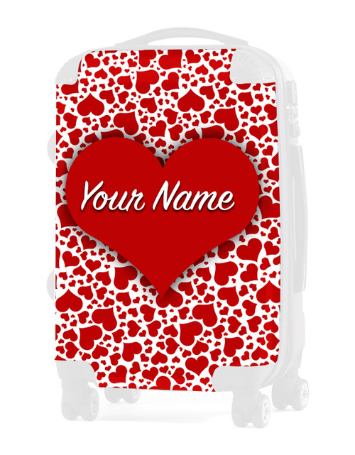 """Red Hearts - Graphic Insert for 20"""" Carry-on Luggage"""