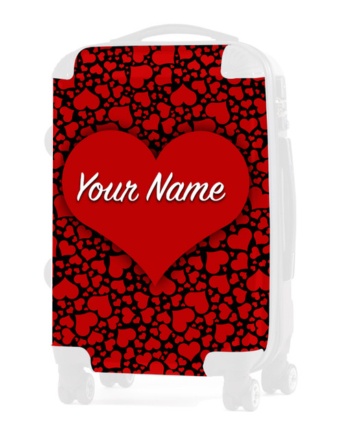 "Red-Black Hearts - Graphic Insert for 24"" Check-in Luggage"