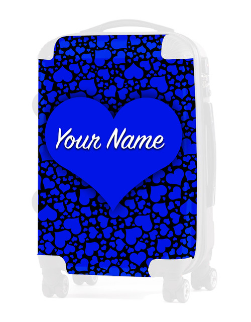 """Blue-Black  Hearts - Graphic Insert for 20"""" Carry-on Luggage"""