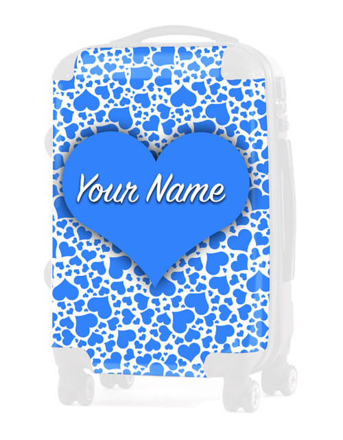 "Baby Blue Hearts - Graphic Insert for 24"" Check-in Luggage"