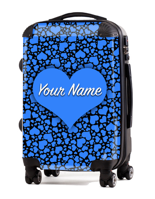"Baby Blue-Black Hearts - 20"" Carry-On Luggage"