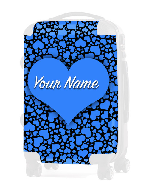"""Baby Blue-Black  Hearts - Graphic Insert for 20"""" Carry-on Luggage"""