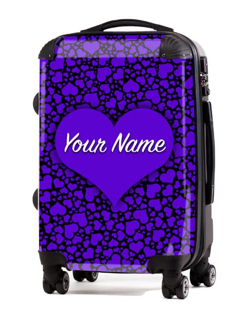 "Purple-Black Hearts - 20"" Carry-On Luggage"