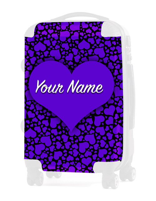 "Purple-Black Hearts - Graphic Insert for 24"" Check-in Luggage"
