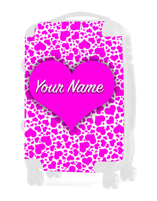 "Pink Hearts - Graphic Insert for 24"" Check-in Luggage"