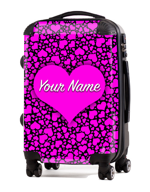 "Pink-Black Hearts - 20"" Carry-On Luggage"