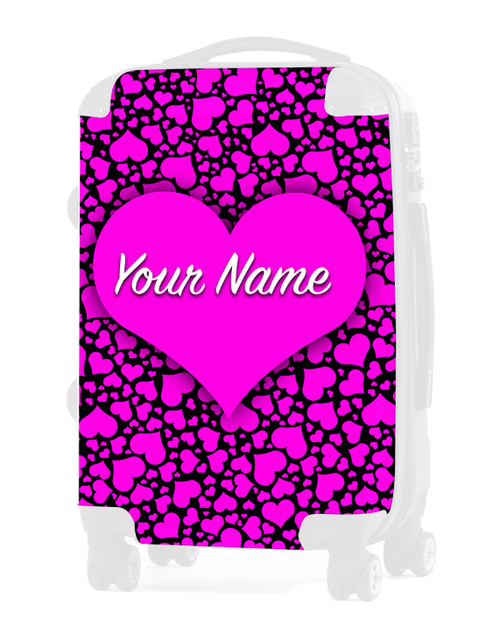 "Pink-Black Hearts - Graphic Insert for 24"" Check-in Luggage"