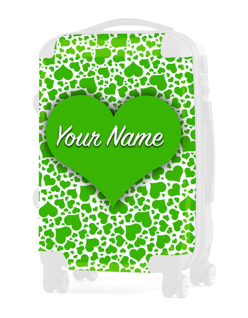 """Green Hearts - Graphic Insert for 20"""" Carry-on Luggage"""