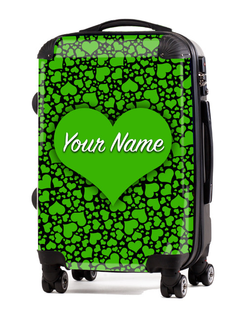 "Green-Black Hearts - 20"" Carry-On Luggage"