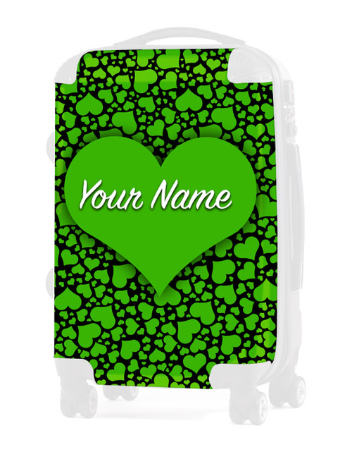 """Green-Black  Hearts - Graphic Insert for 20"""" Carry-on Luggage"""