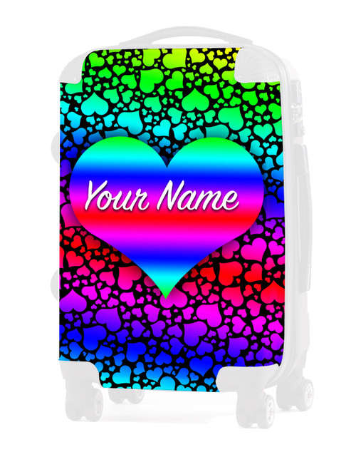 "Rainbow Hearts - Graphic Insert for 24"" Check-in Luggage"
