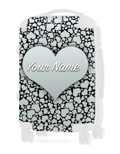 "Silver Hearts - Graphic Insert for 24"" Check-in Luggage"