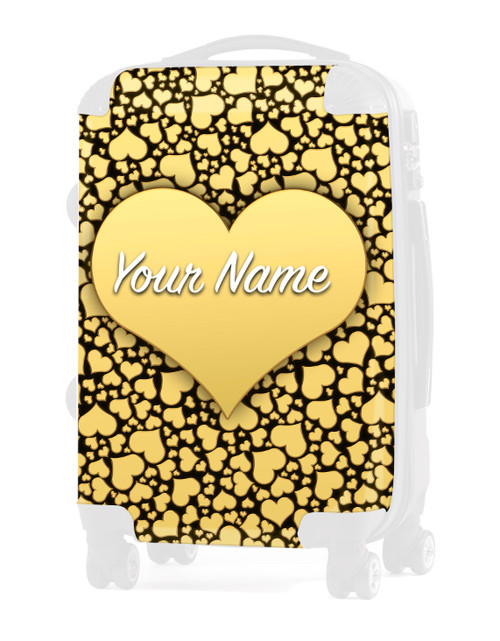 "Gold Hearts - Graphic Insert for 24"" Check-in Luggage"