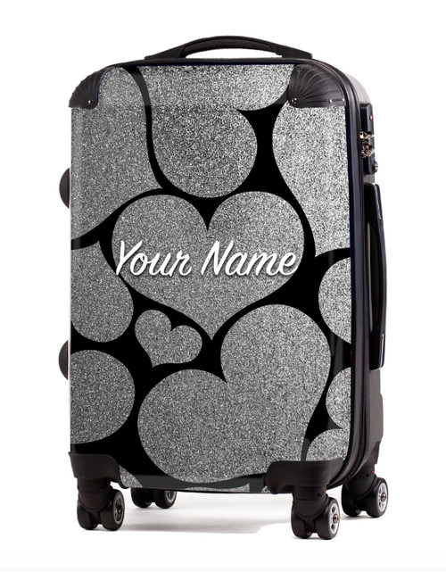 """Silver Glitter Hearts - 20"""" Carry-On Luggage"""