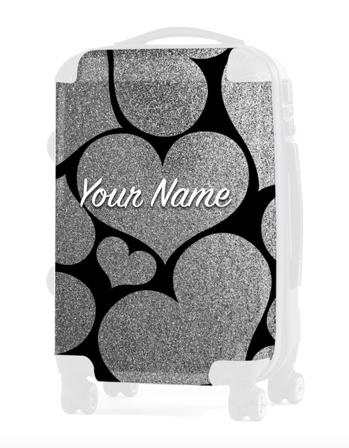"Silver Glitter Hearts - Graphic Insert for 24"" Check-in Luggage"