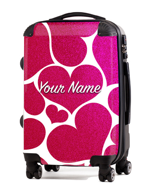 "Pink Glitter Hearts - 20"" Carry-On Luggage"