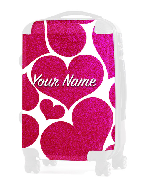 "Pink Glitter Hearts - Graphic Insert for 24"" Check-in Luggage"