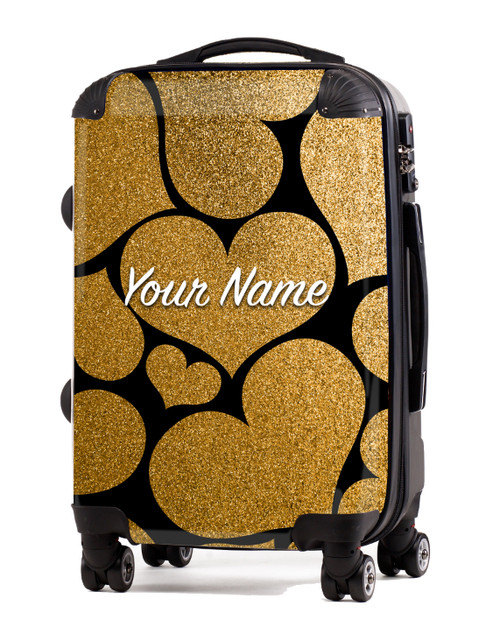 "Gold Glitter Hearts - 24"" Check-in Luggage"