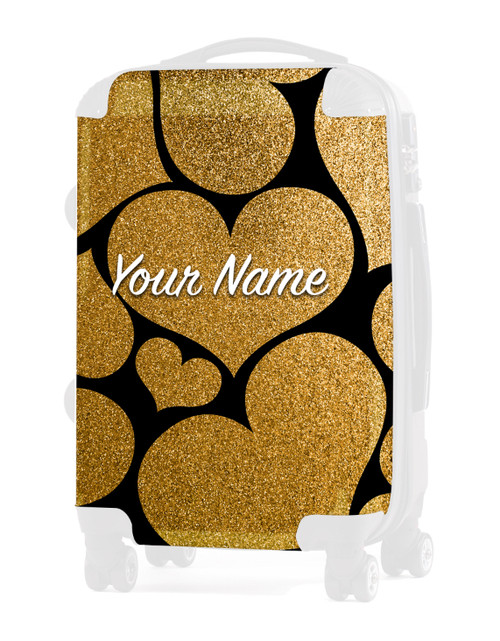 "Gold Glitter Hearts - Graphic Insert for 24"" Check-in Luggage"