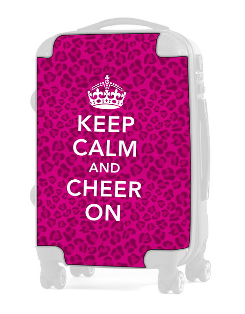 "Keep Calm and Cheer On - CHEETAH PINK 24"" Check In Luggage Insert"