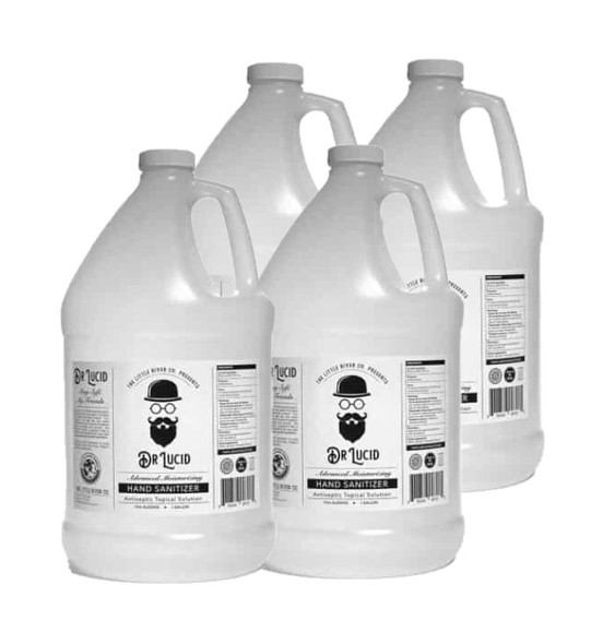 1 Gallon Bottle with Hand Pump, Dr. Lucid Liquid Hand Sanitizer, 4 pack - Made in USA