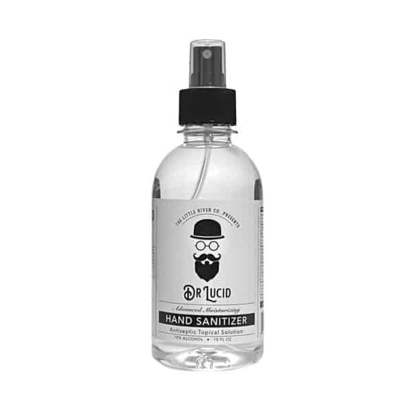 10 oz. Dr. Lucid Hand Sanitizer Liquid Bottle with Spray Cap, 1 pack, Made in USA. Free shipping for orders in the United States.