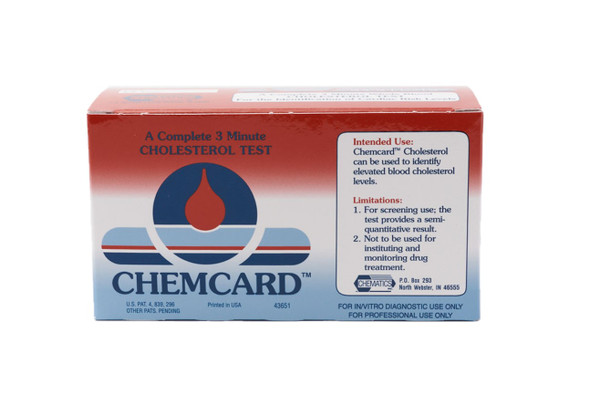 Chemcard™ Rapid Point-of-Care Cholesterol Test, Box of 24