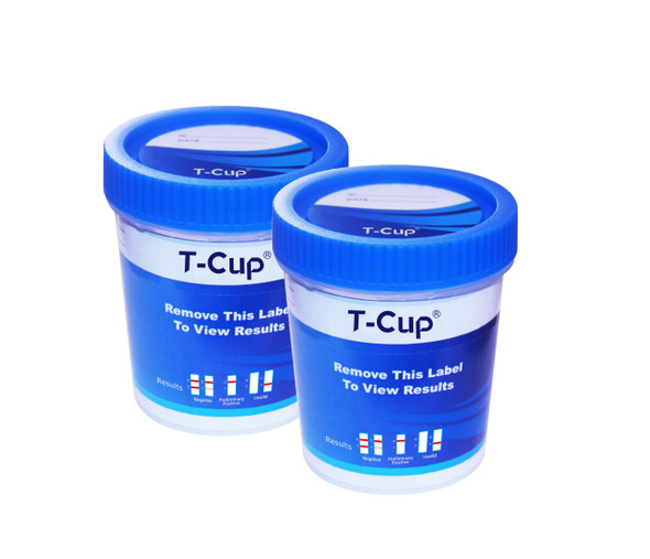10 Panel UDS T-Cup (Box of 25) CLIA Waived - AMP, BAR, BZO, COC, MAMP, MDMA, MTD, OPI, PCP, THC