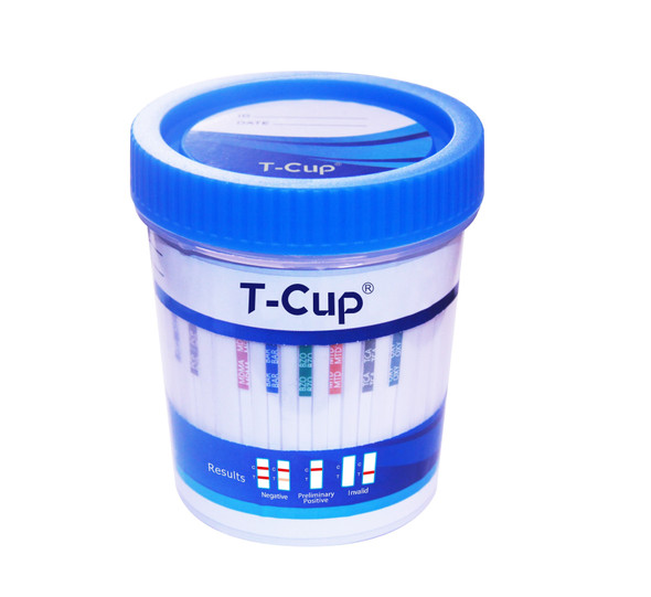 14 Panel UDS T-Cup with ETG (Box of 25) - AMP, BAR, BUP, BZO, COC, MAMP, MDMA, OPI300, MTD, OXY, PCP, THC, FTY, ETG