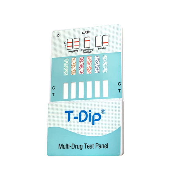 6 Panel UDS T-Dip Card (Box of 25); CLIA Waived - BUP, BZO, COC, OPI300, MTD, OXY